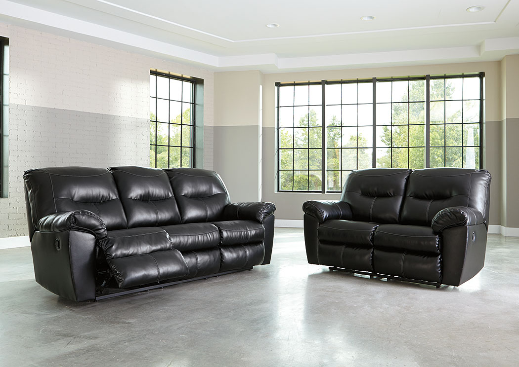 Kilzer DuraBlend Black Reclining Sofa and Loveseat,Signature Design by Ashley