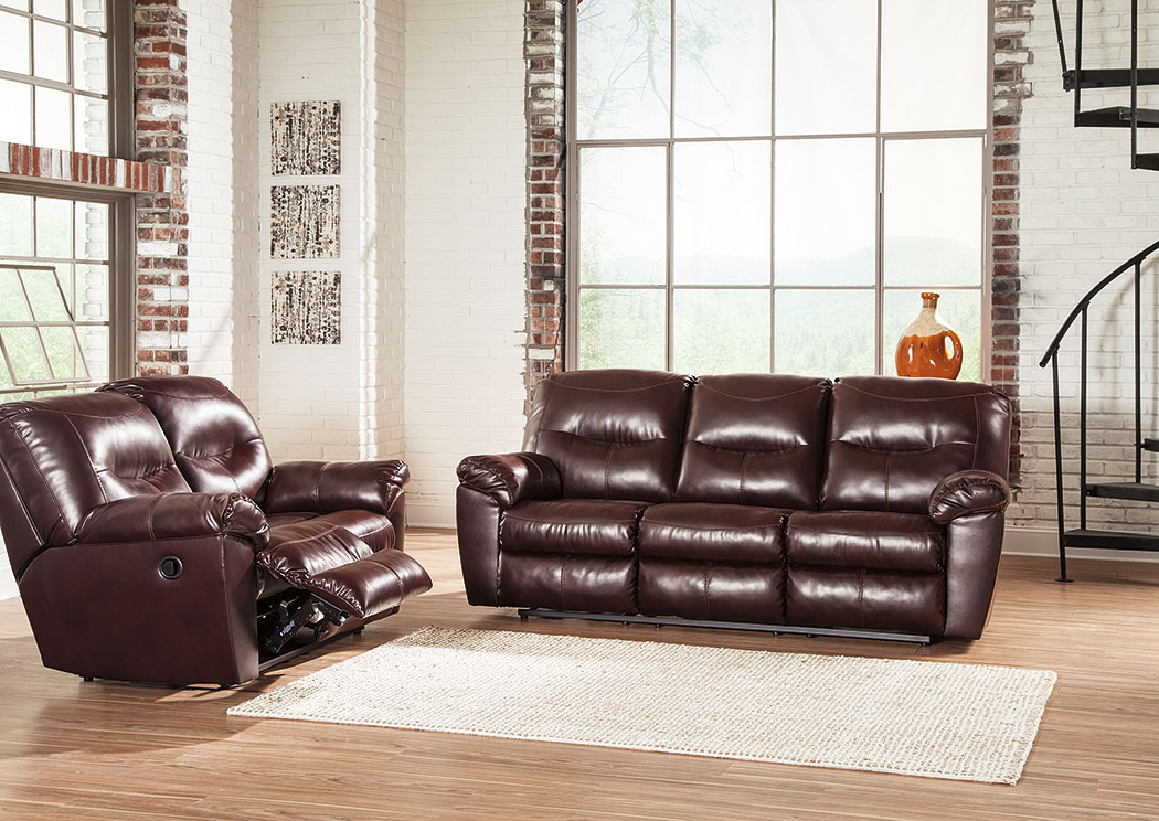 Kilzer DuraBlend Mahogany Reclining Sofa and Loveseat,Signature Design by Ashley