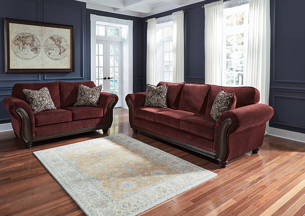 Lovely Chesterbrook Burgundy Sofa And Loveseat,Signature Design By Ashley
