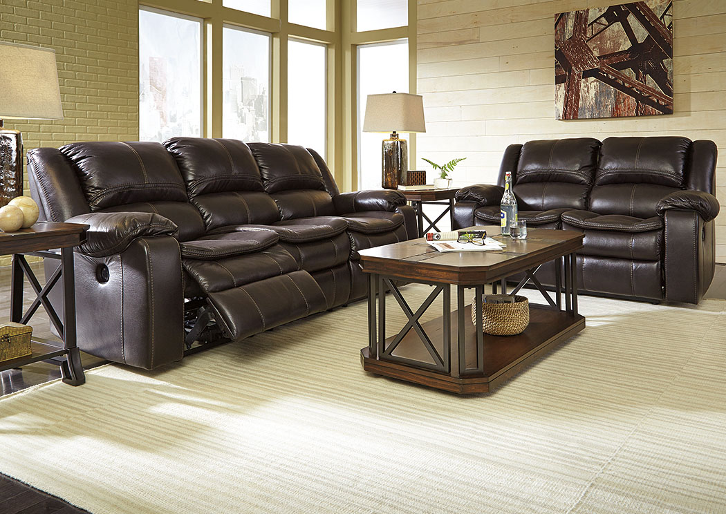 Long Knight Brown Reclining Power Sofa & Loveseat,Signature Design by Ashley