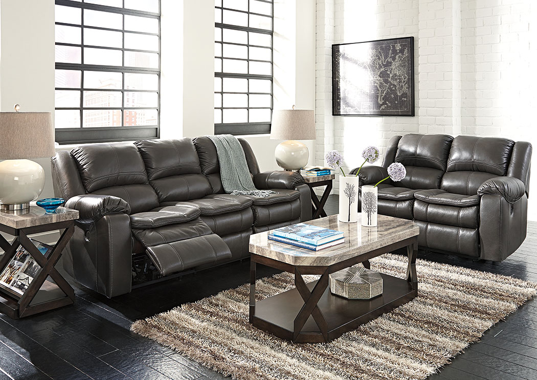 Long Knight Gray Power Reclining Sofa & Loveseat,Signature Design By Ashley