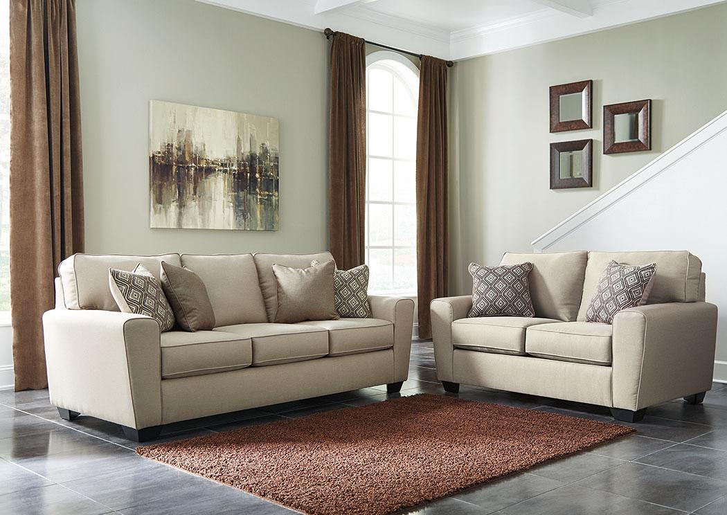 American Furniture Galleries Calicho Ecru Sofa Loveseat