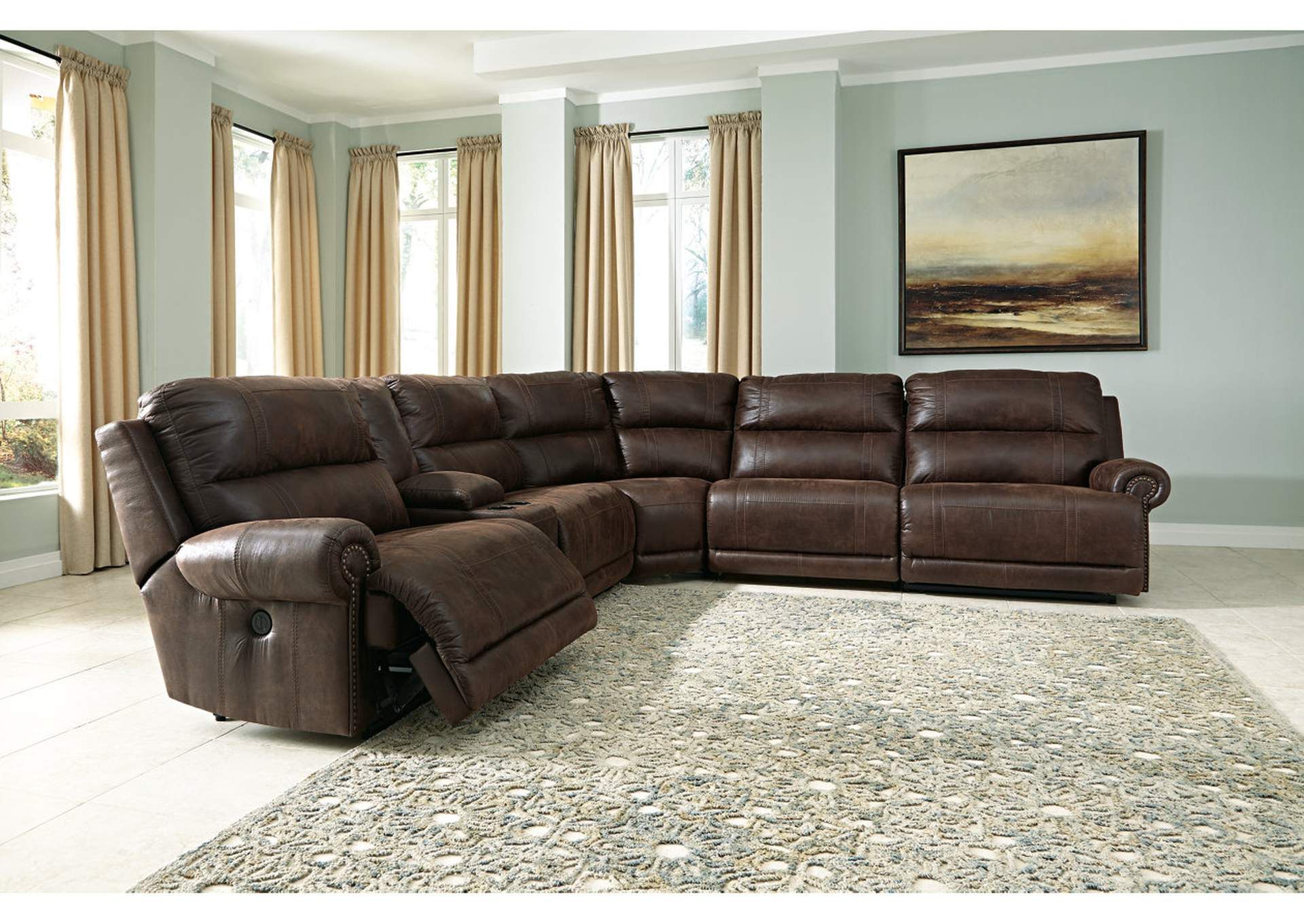Luttrell Espresso Zero Wall Reclining Sectional w/Storage Console,Signature Design By Ashley