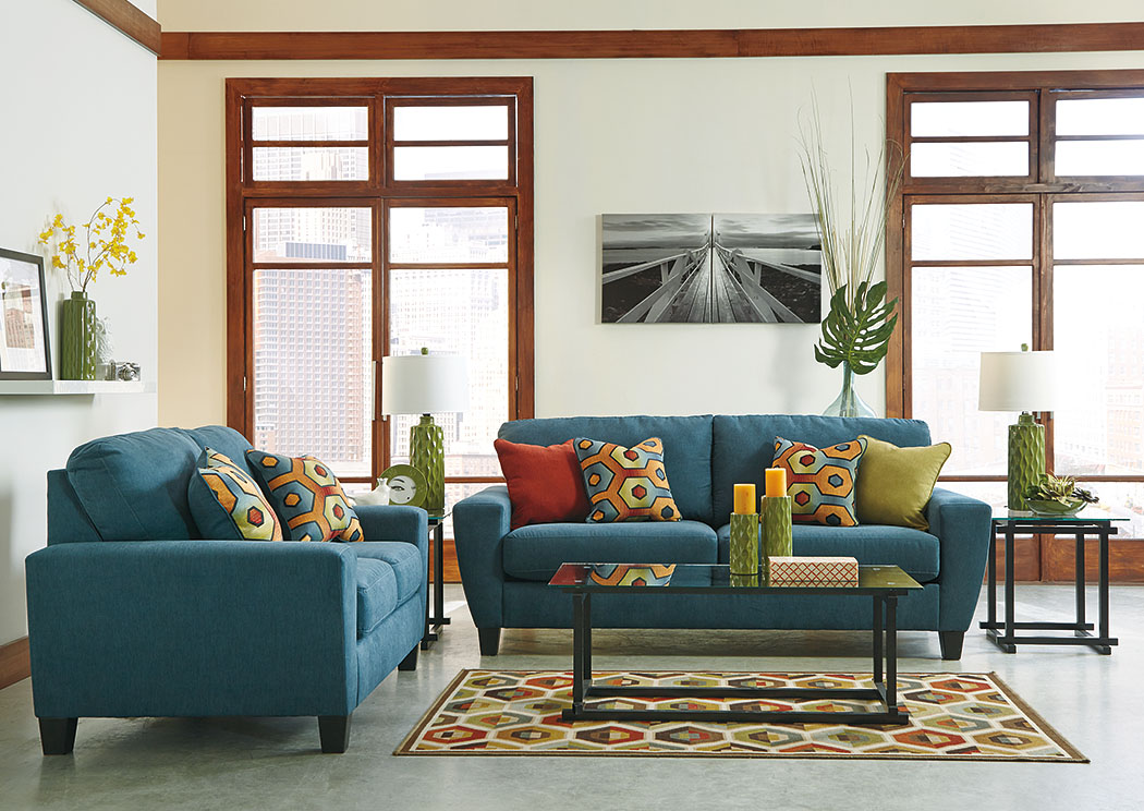 Furniture liquidators home center sagen teal sofa loveseat for Living room ideas ashley furniture