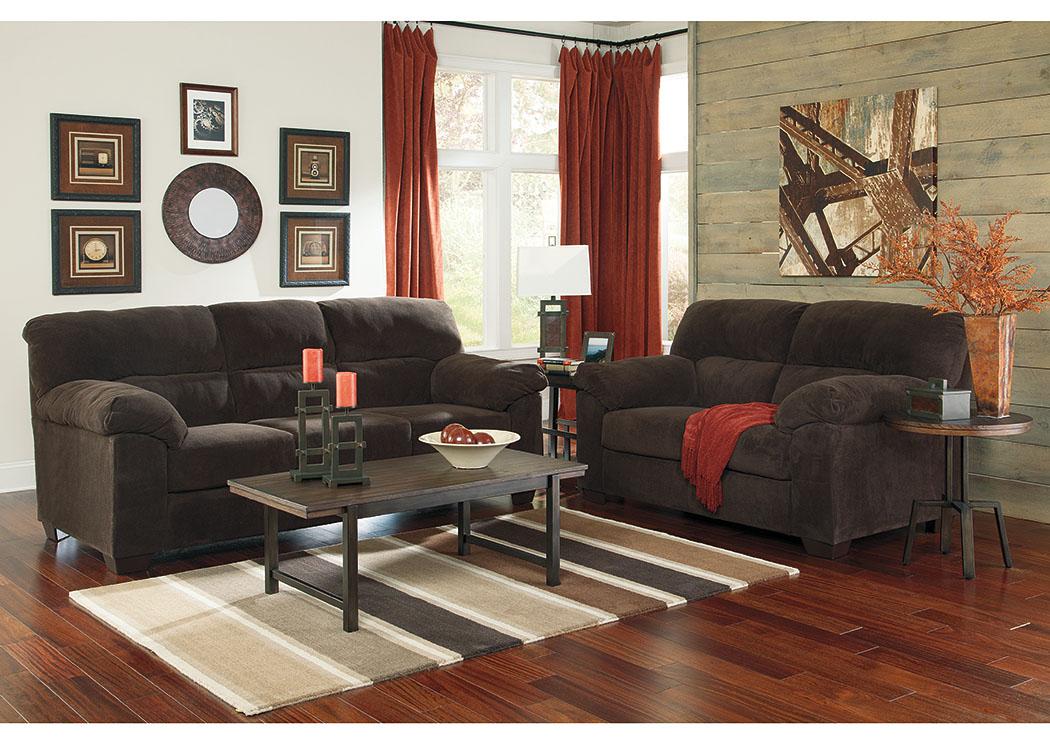 Majek Furniture Zorah Chocolate Sofa Loveseat