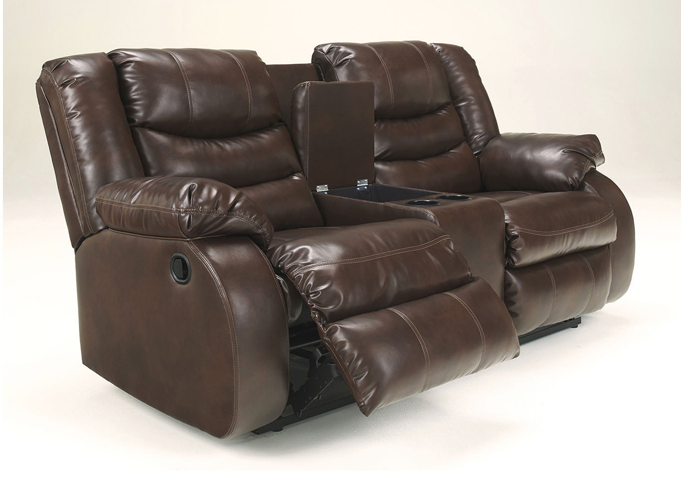 Langlois Furniture Muskegon Mi Linebacker Durablend Espresso Double Reclining Loveseat W Console