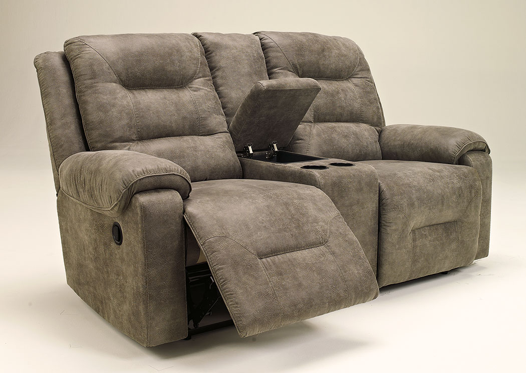 Rotation Smoke Double Reclining Loveseat w/Console,Signature Design by Ashley