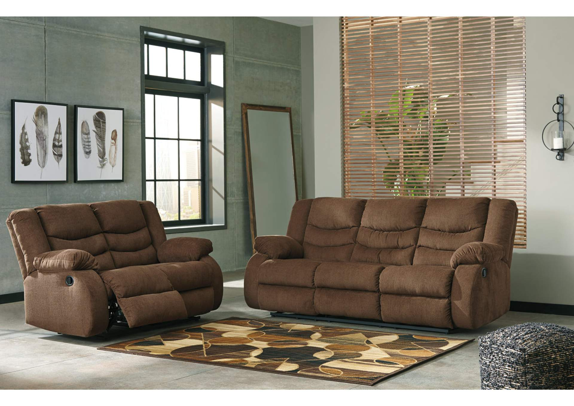 Tulen Chocolate Reclining Sofa And Loveseat,Signature Design By Ashley