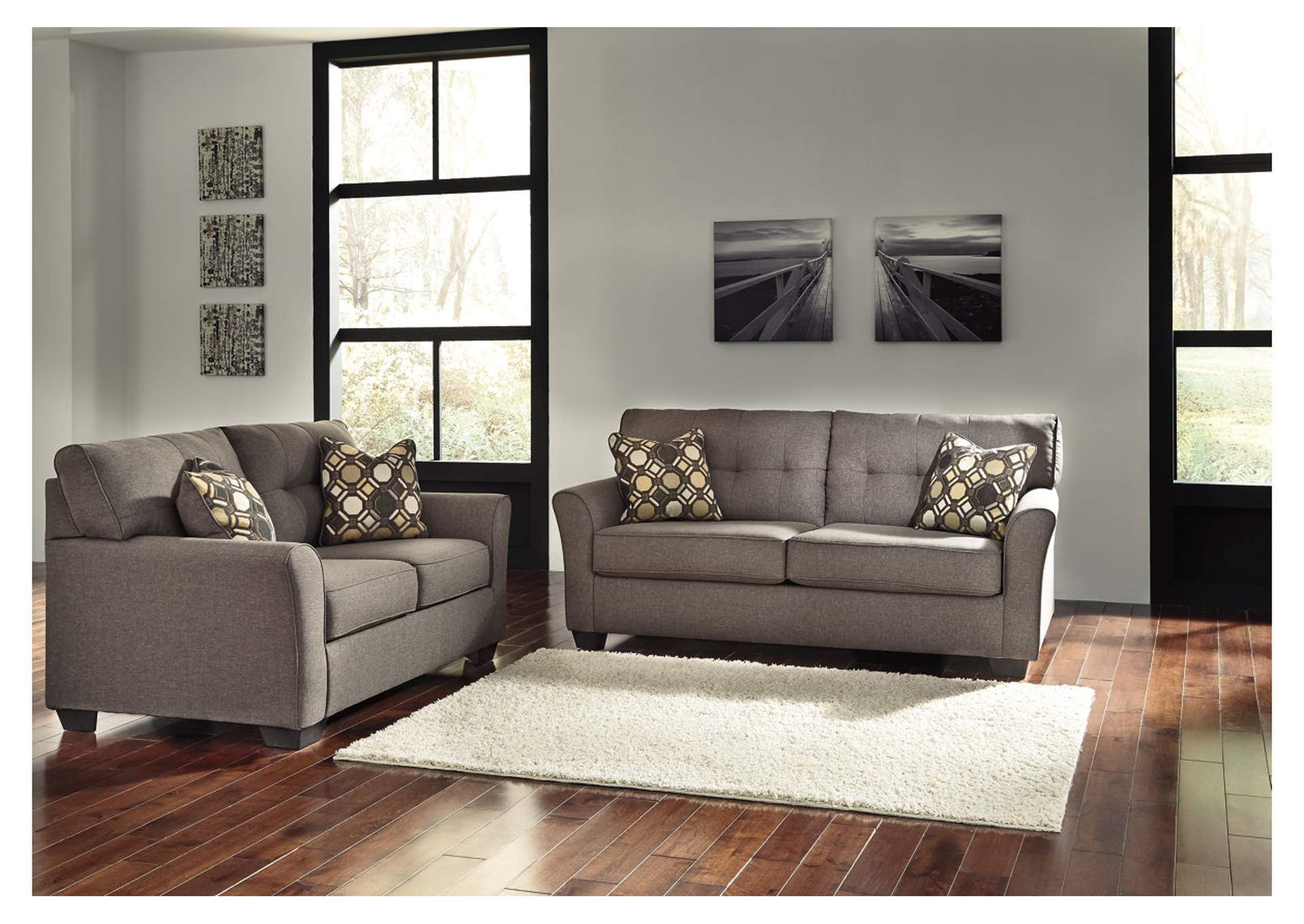 American furniture design tibbee slate sofa and loveseat for Living room designs in jamaica