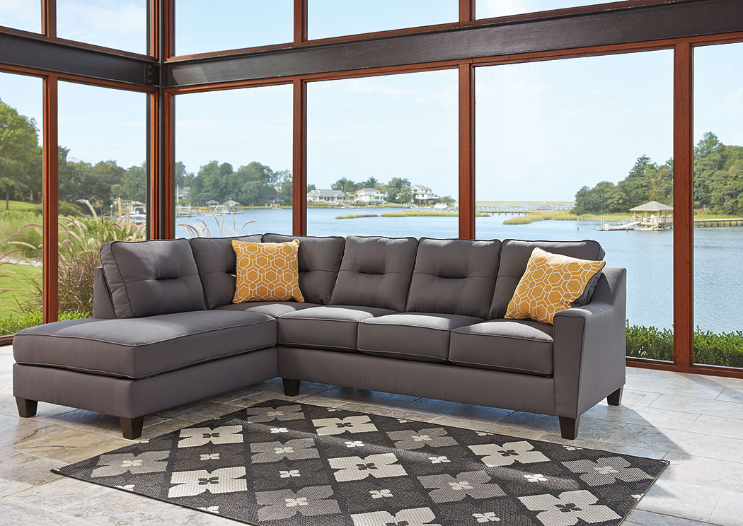 Kirwin Nuvella Gray Left Facing Corner Chaise Sectional,Benchcraft