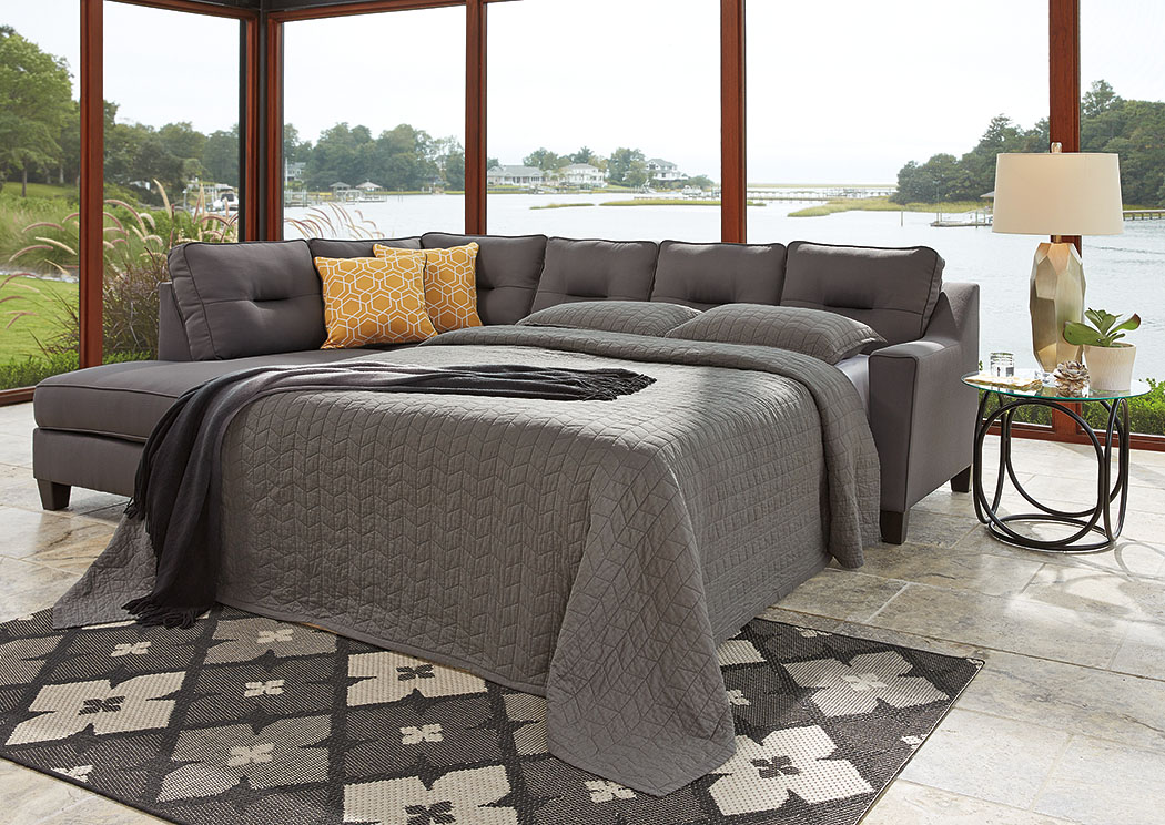 Kirwin Nuvella Gray Right Facing Queen Sleeper Sectional,Benchcraft