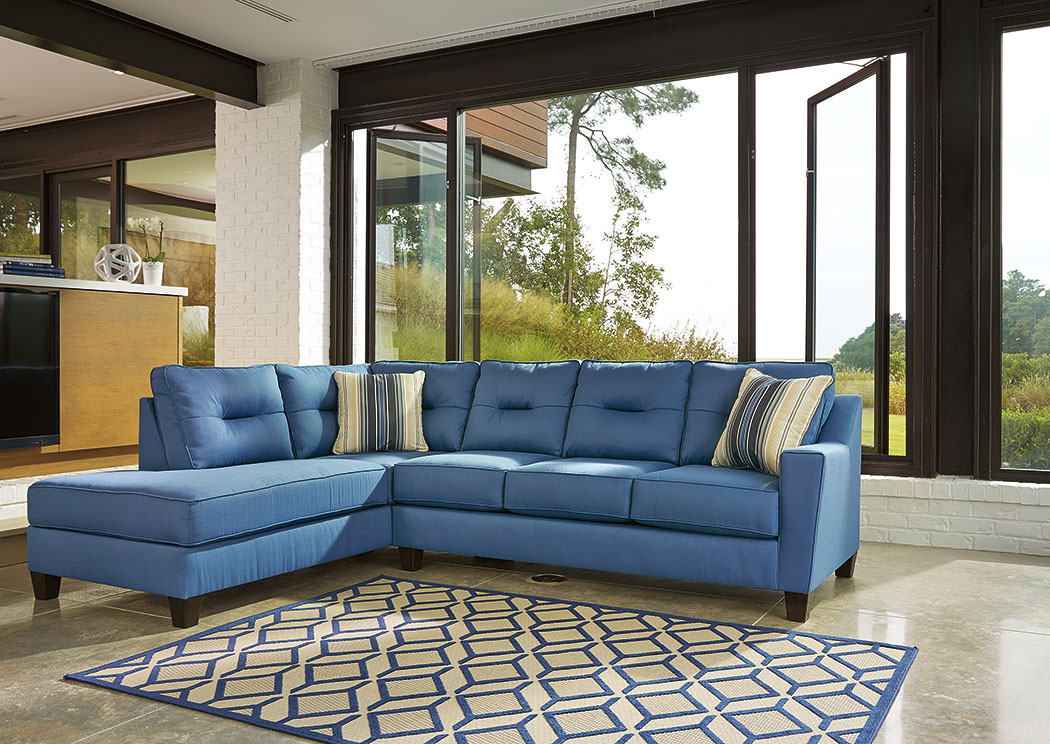 Kirwin Nuvella Blue Left Facing Corner Chaise Sectional,Benchcraft