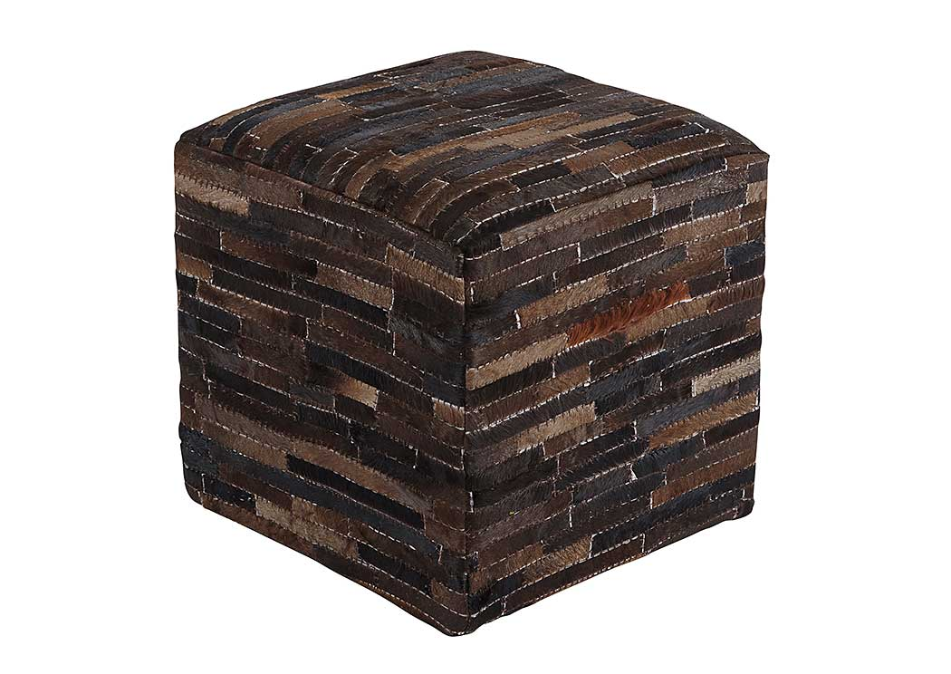 Cowhide Dark Brown Pouf,Signature Design by Ashley