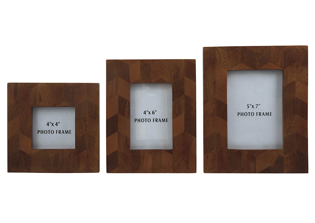 Kabecka Brown Photo Frame (Set of 3),48 Hour Quick Ship