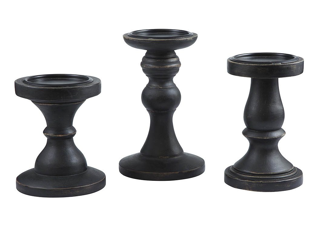 Kadience Black Candle Holder (Set of 3),Signature Design By Ashley