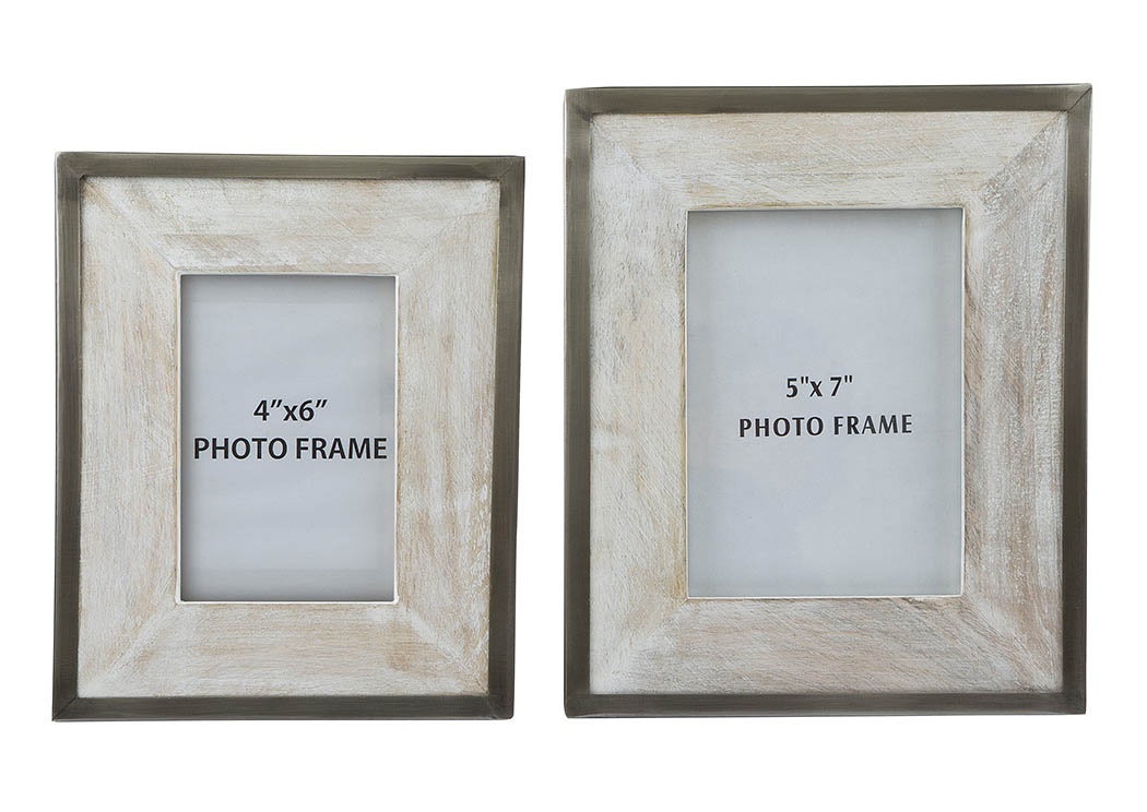 Kadija White Wash/Silver Finish Photo Frame (Set of 2),ABF Signature Design by Ashley