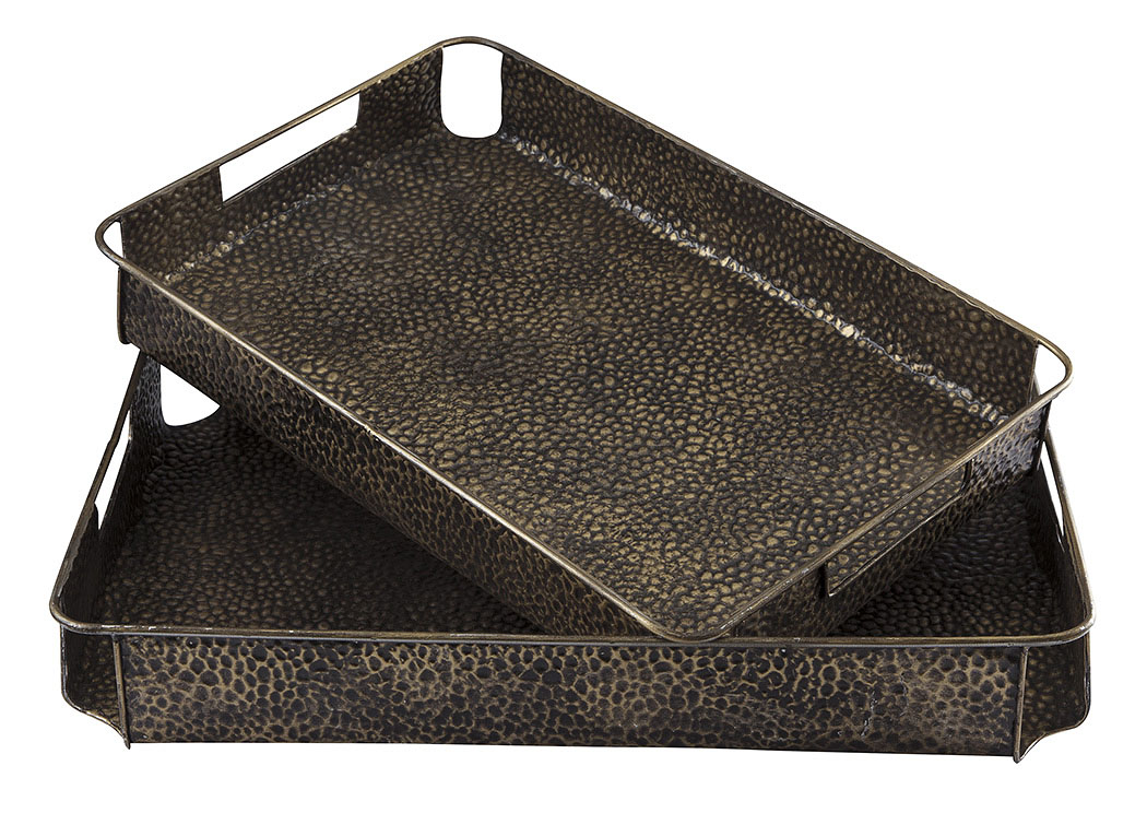 Kale Antique Bronze Finish Tray (Set of 2),Signature Design By Ashley
