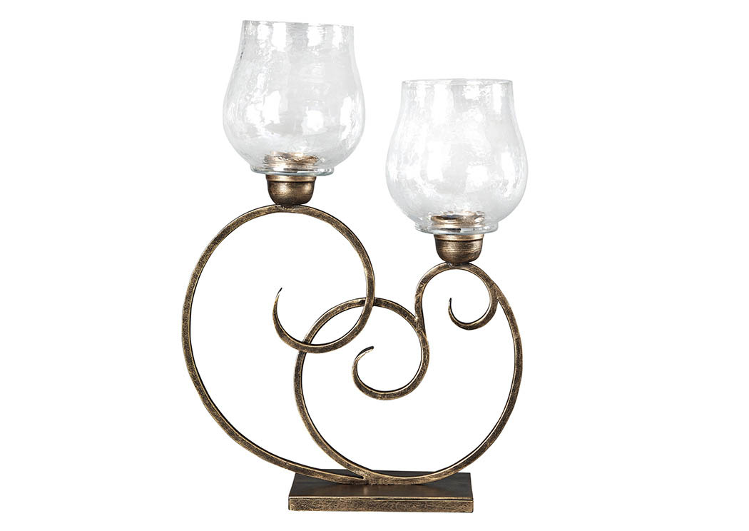 Oba Antique Gold Finish Candle Holder,Signature Design By Ashley