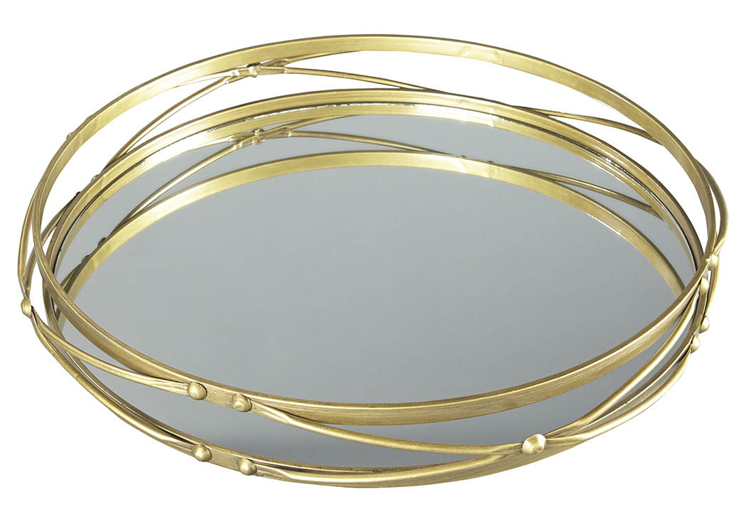 Ocelfa Antique Gold Finish Tray (Set of 2),Signature Design by Ashley