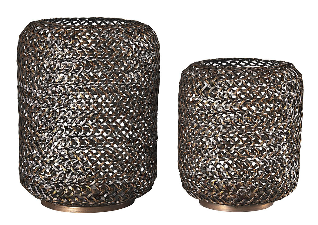 Odbart Antique Bronze Finish Candle Holder (Set of 2),48 Hour Quick Ship