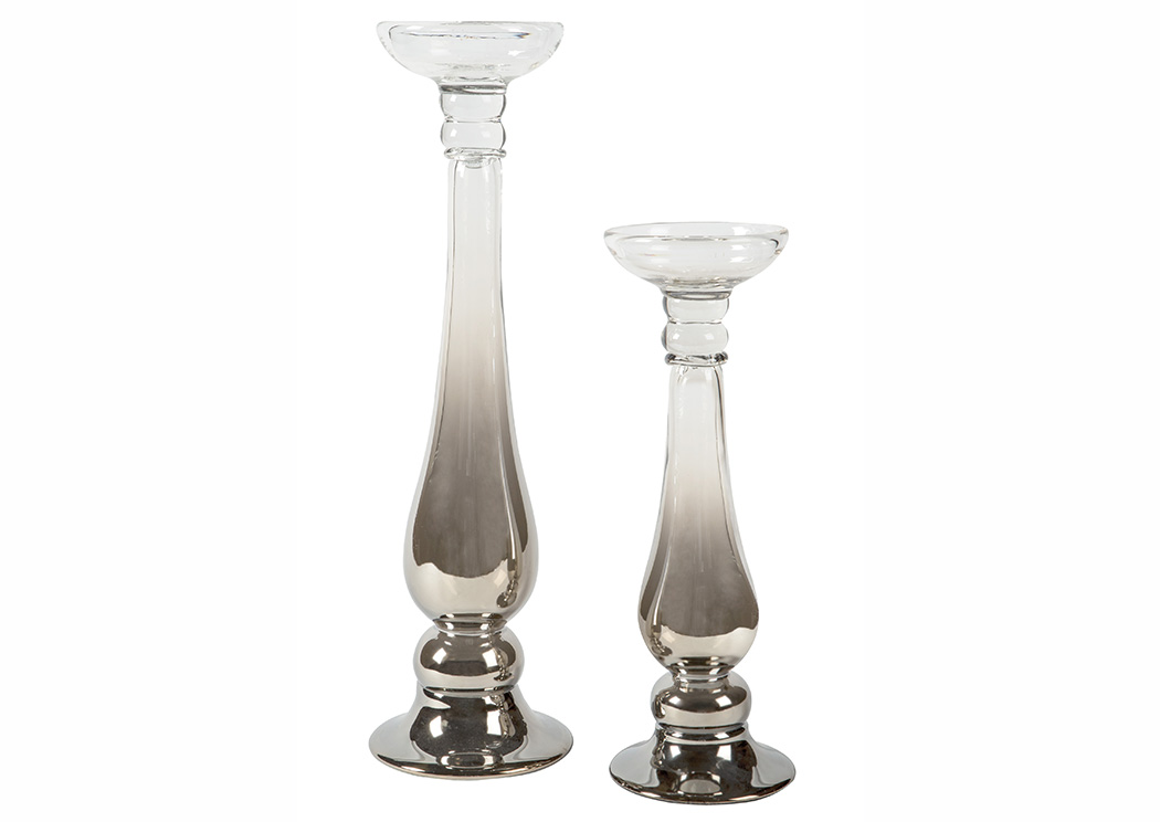 Devika Clear/Silver Finish Candle Holder (Set of 2),Signature Design by Ashley