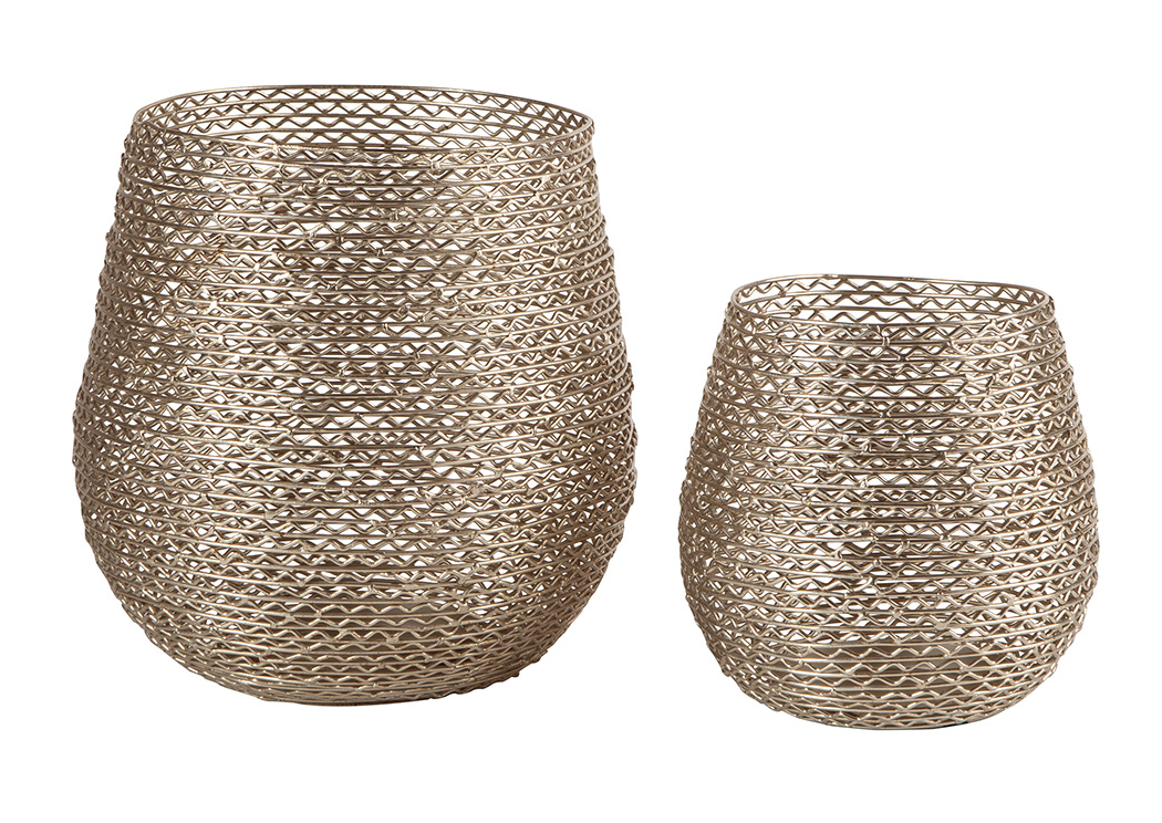 Desdemona Silver Finish Candle Holder (Set of 2),Signature Design By Ashley