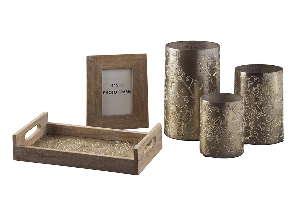 Best Price Furniture And Nationwide Furniture Deward Whitewash/Gold Finish  Accessory Set (Set Of 5)