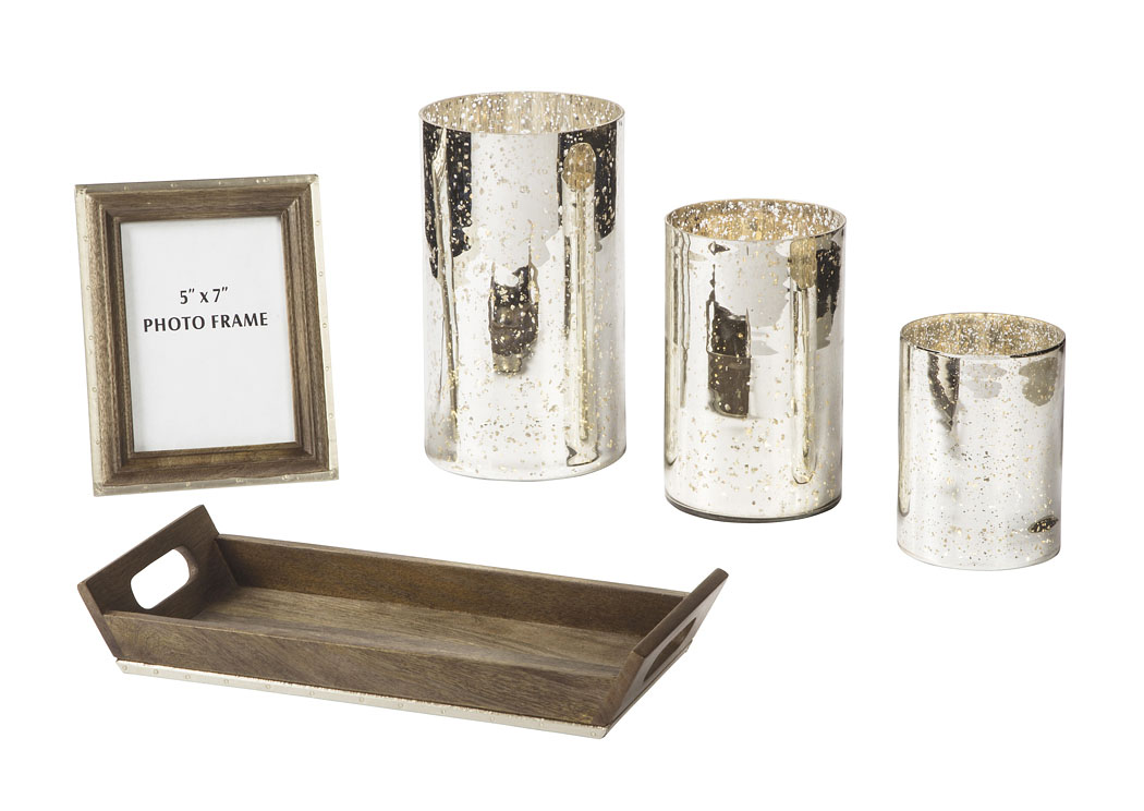 Foothills Family Furniture Dexton Brown Silver Accessory Set
