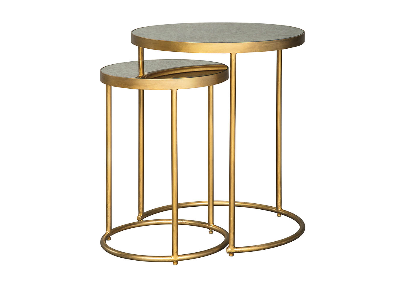 Majaci Gold Finish/White Accent Table (Set of 2),Signature Design By Ashley
