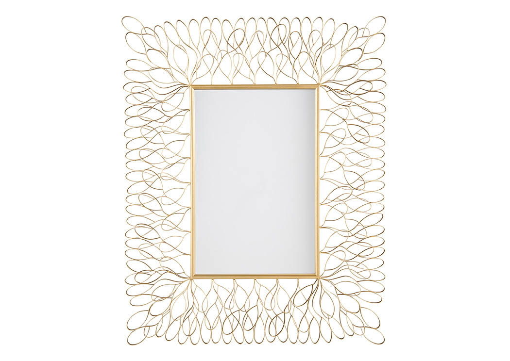 Ogdon Antique Gold Finish Accent Mirror,Signature Design by Ashley