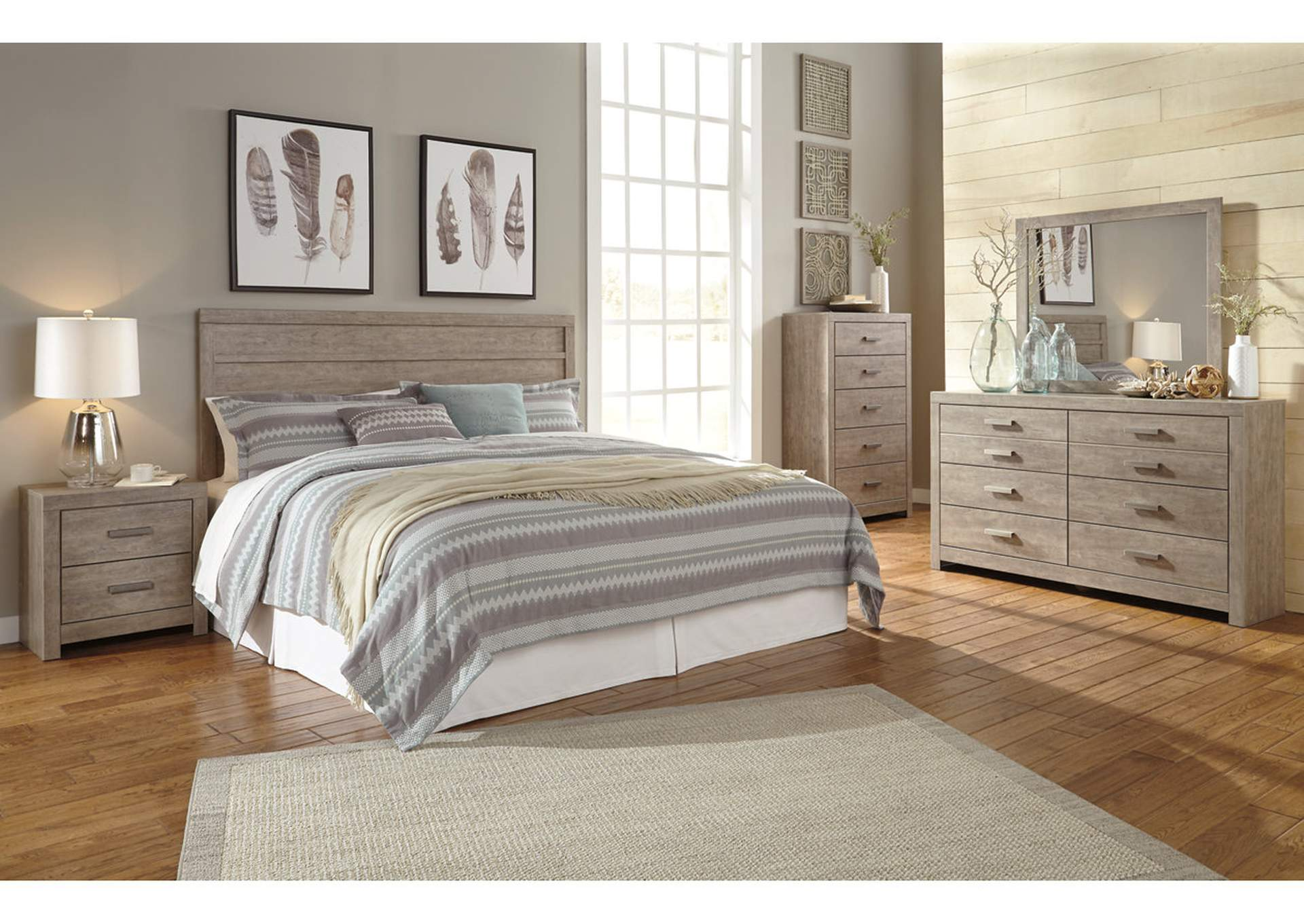 Atlantic Bedding And Furniture Fayetteville Culverbach Gray King Panel Bed W Dresser Mirror