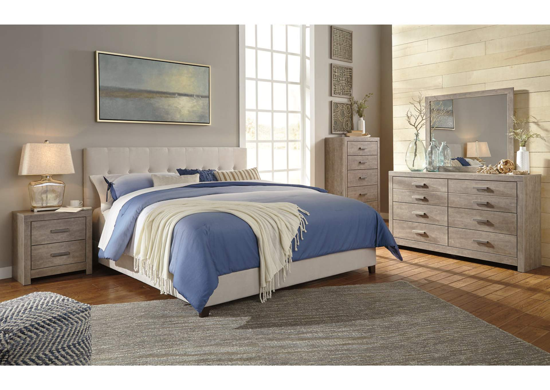 King Cream Upholstered Bed,Signature Design By Ashley