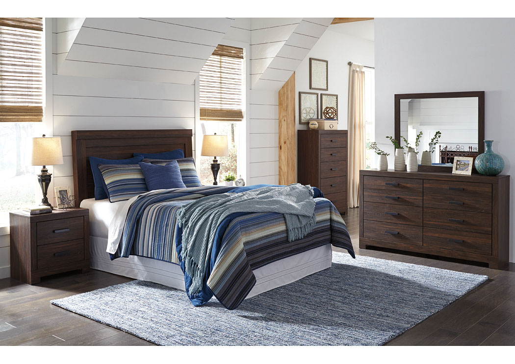 Arkaline Brown Queen/Full Panel Headboard w/Dresser & Mirror,Signature Design By Ashley