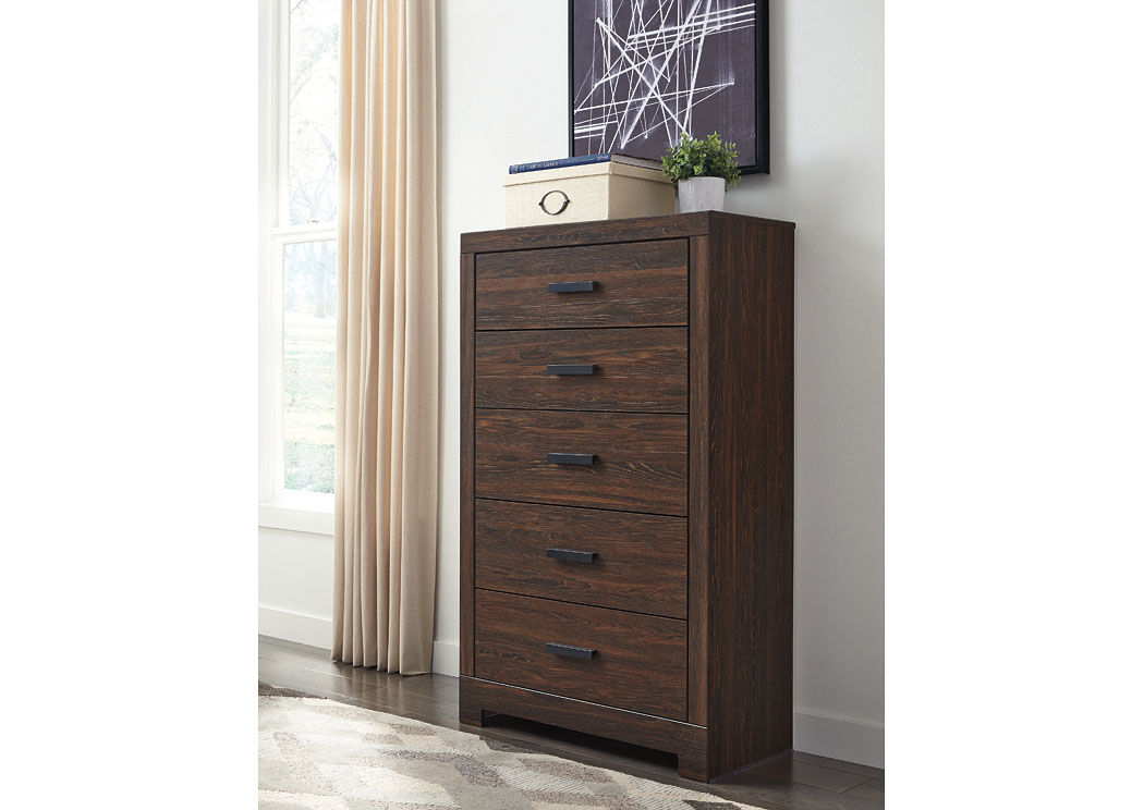 Arkaline Brown Five Drawer Chest,Signature Design By Ashley