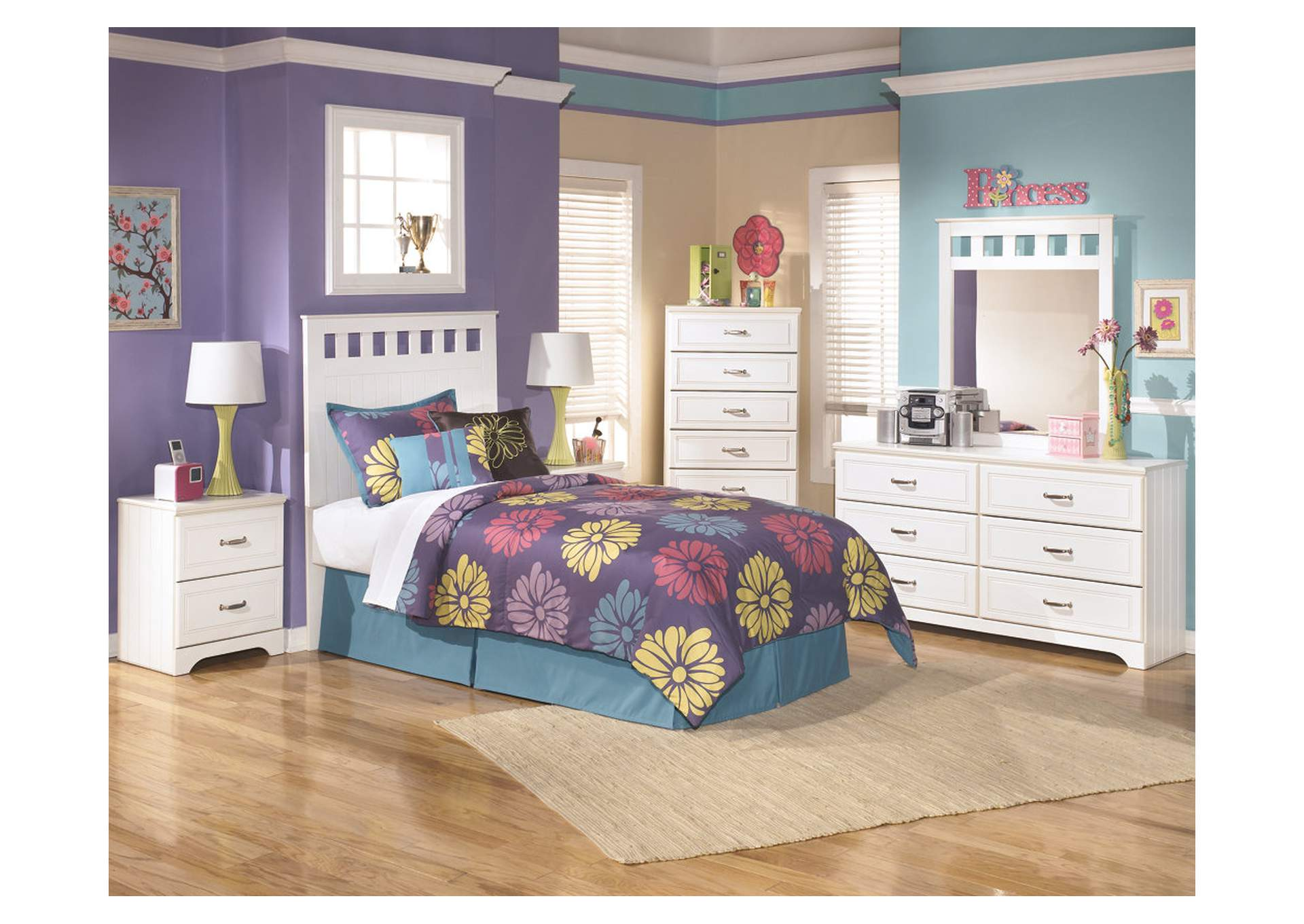 Lulu Twin Panel Headboard w/Dresser, Mirror, Drawer Chest & Nightstand,Signature Design By Ashley