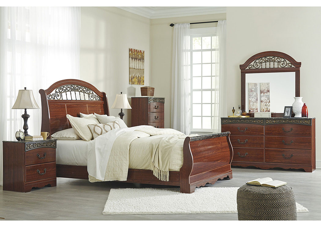 Fairbrooks Estate Reddish Brown Queen Sleigh Bed w/Dresser, Mirror, Drawer Chest & Nightstand,Signature Design by Ashley