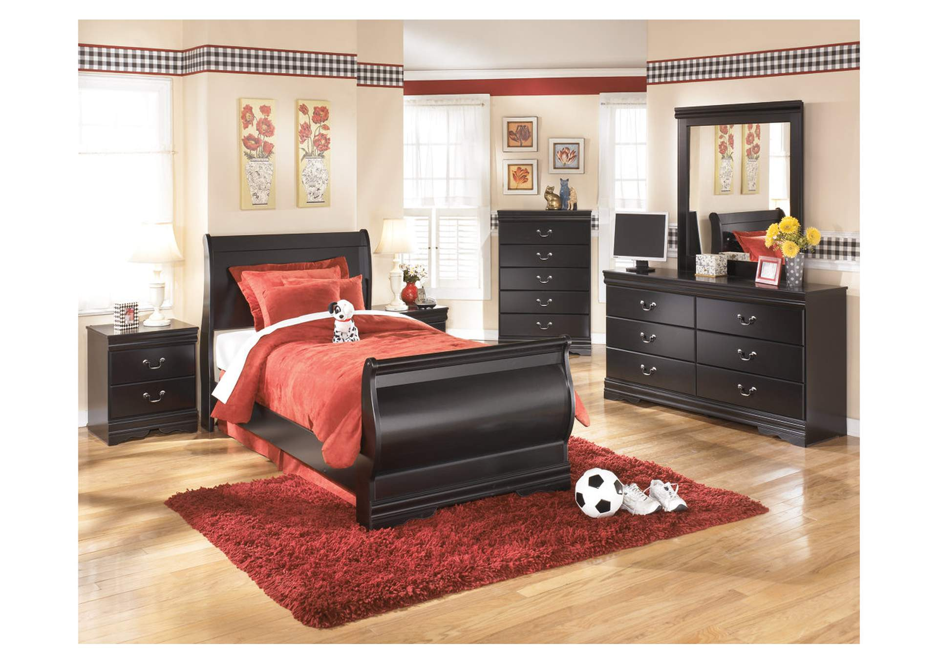 Huey Vineyard Twin Sleigh Bed w/Dresser, Mirror, Drawer Chest & Nightstand,Signature Design By Ashley