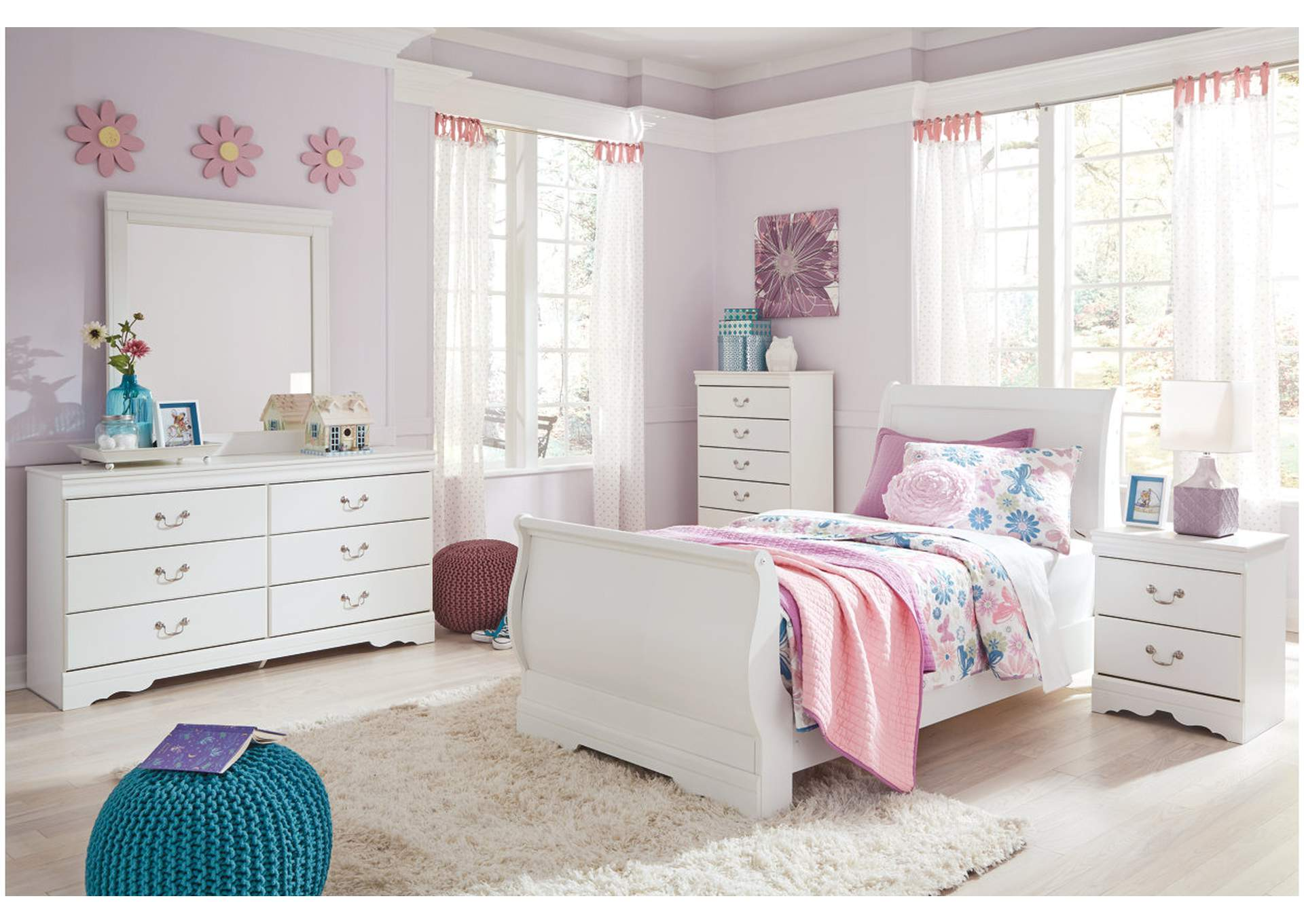 Anarasia White Twin Sleigh Bed w/Dresser, Mirror & Nightstand,Signature Design By Ashley