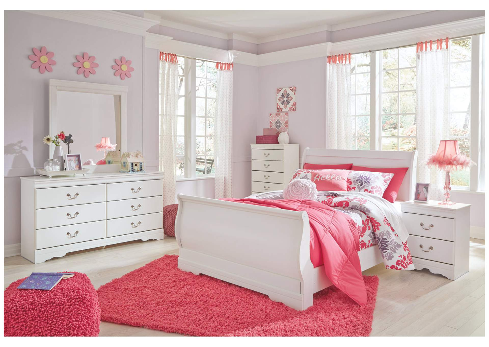 Anarasia White Full Sleigh Bed w/Dresser, Mirror & Drawer Chest,Signature Design By Ashley