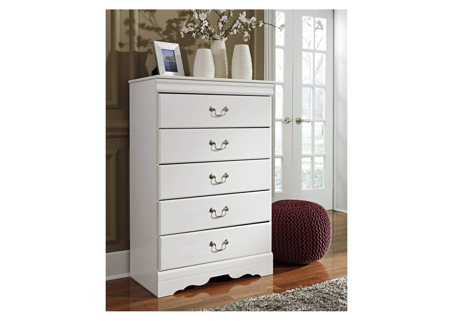 Anarasia White 5 Drawer Chest,Signature Design By Ashley