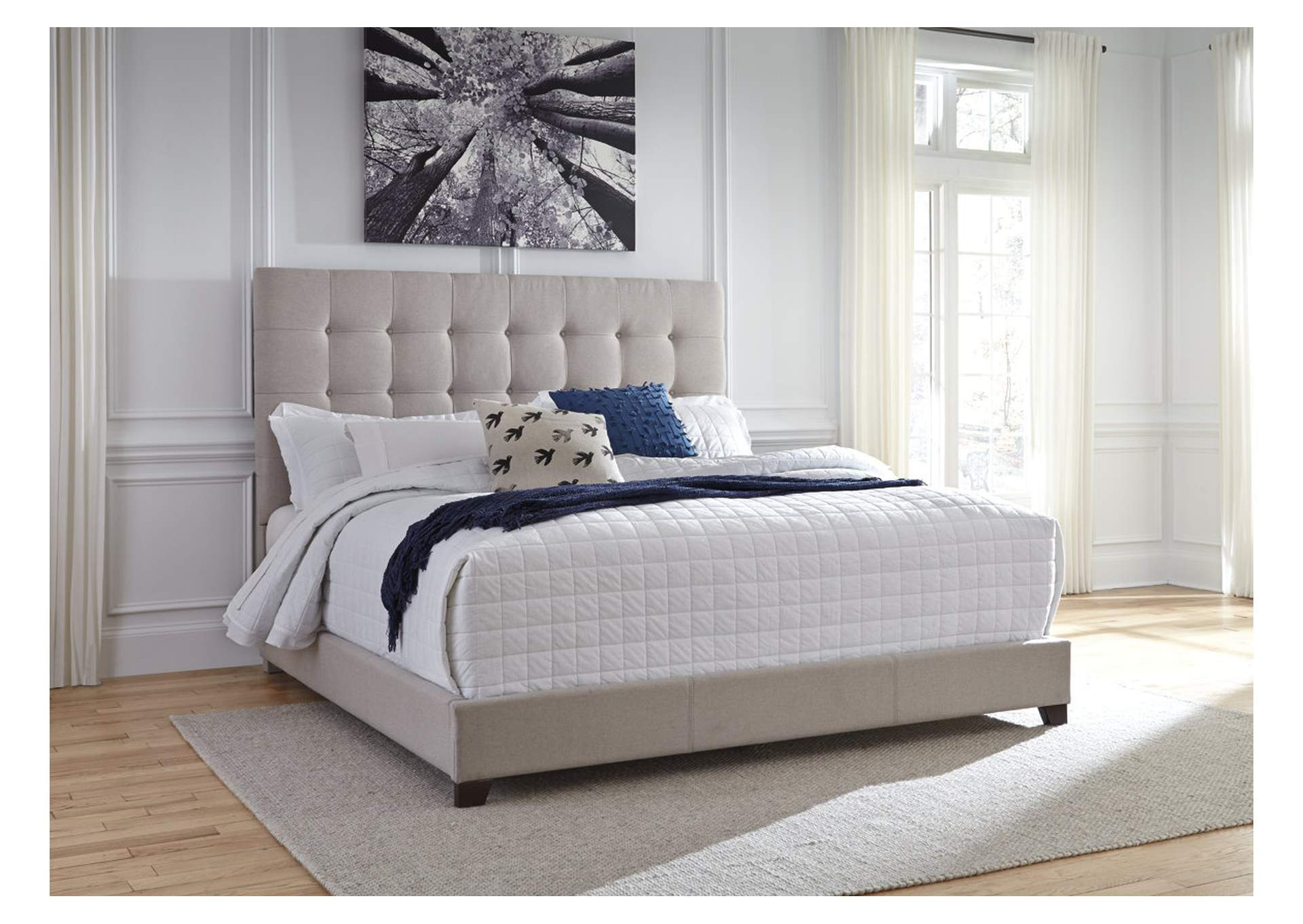 Ivan Smith Beige King Upholstered Bed