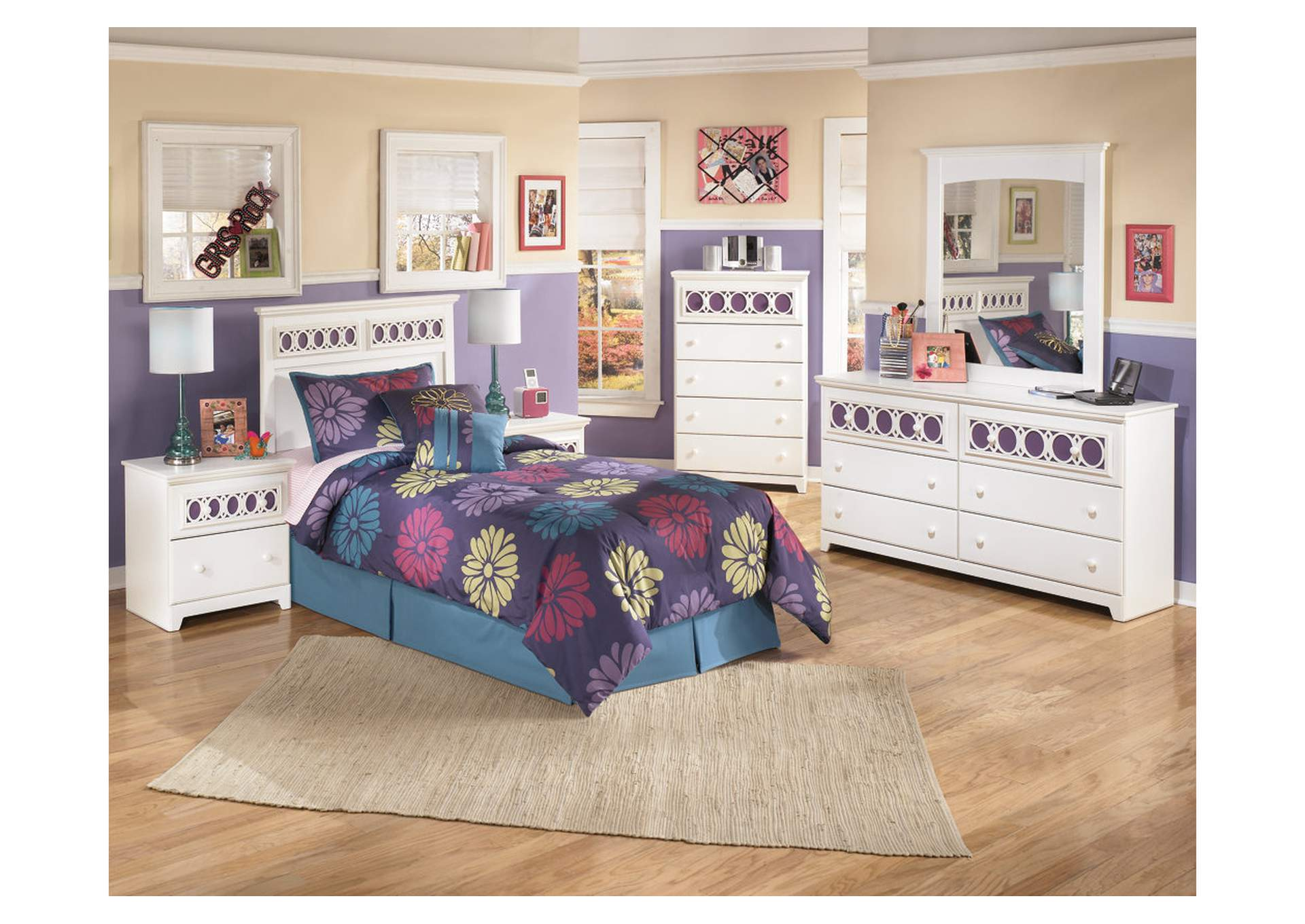 Zayley Twin Panel Headboard w/Dresser, Mirror, Drawer Chest & Nightstand,Signature Design by Ashley