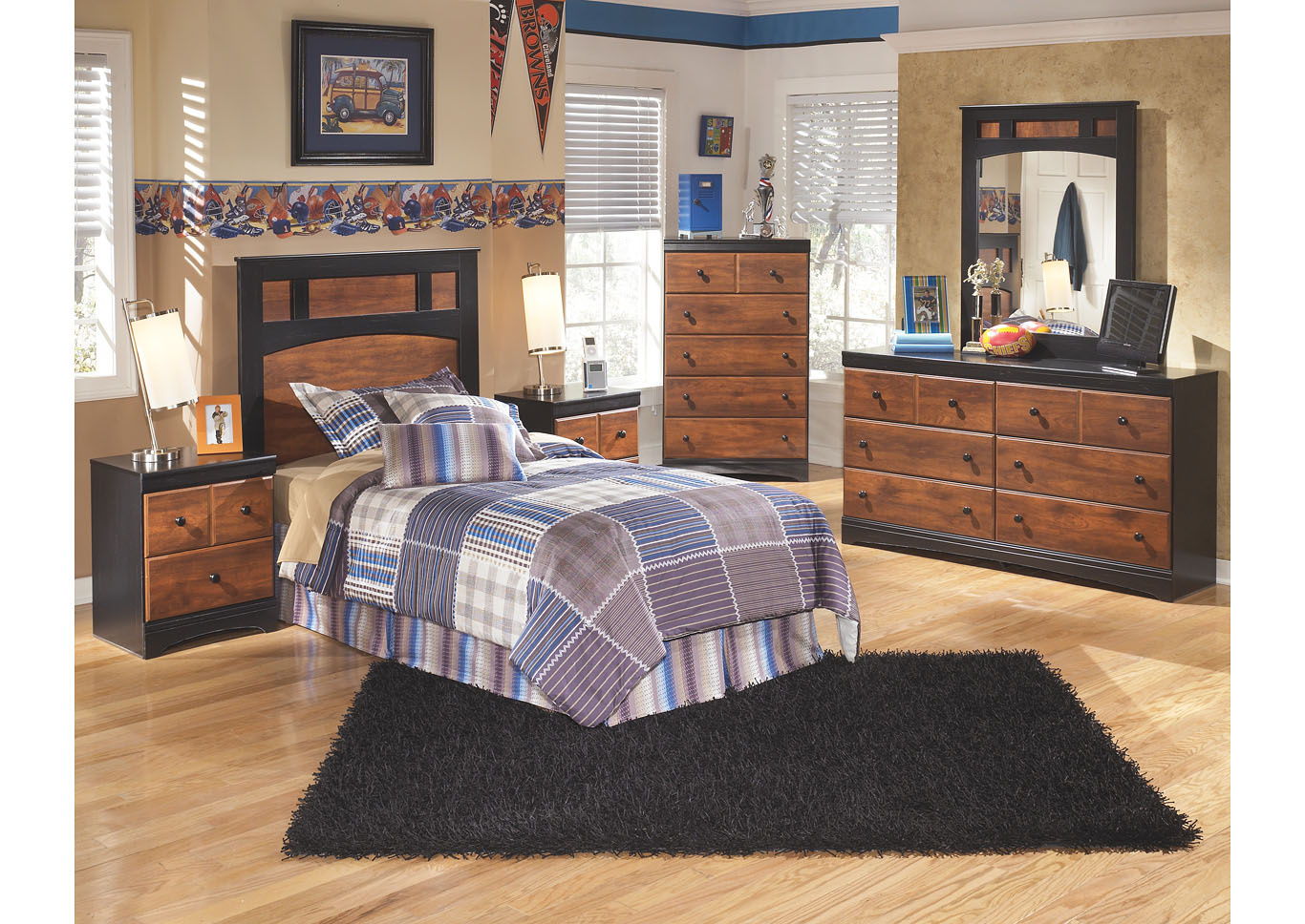 Aimwell Twin Panel Headboard w/Dresser, Mirror, Drawer Chest & Nightstand,Signature Design By Ashley