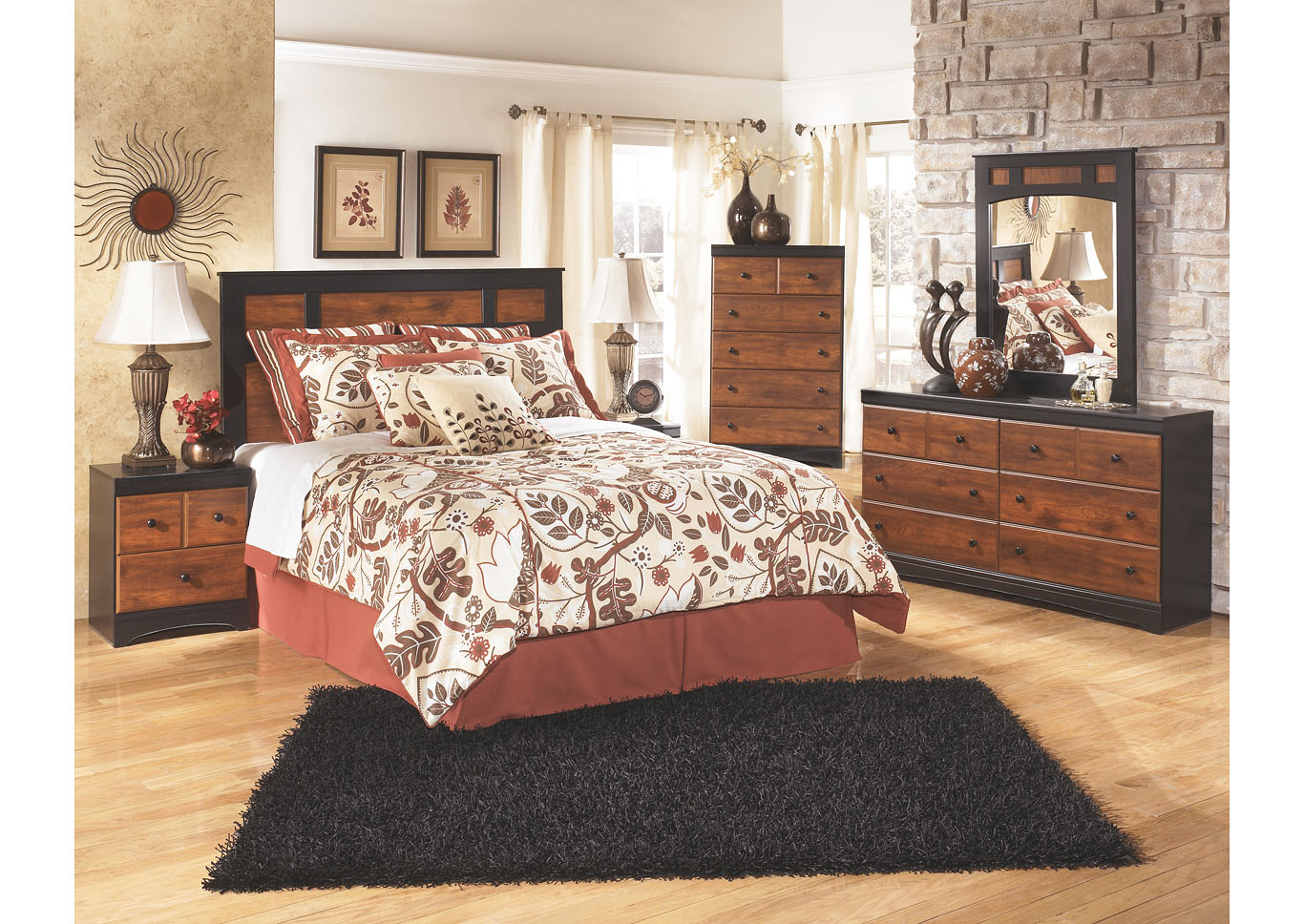 Aimwell Dark Brown Queen/Full Panel Headboard w/Dresser, Mirror, Drawer Chest & Nightstand,Signature Design By Ashley
