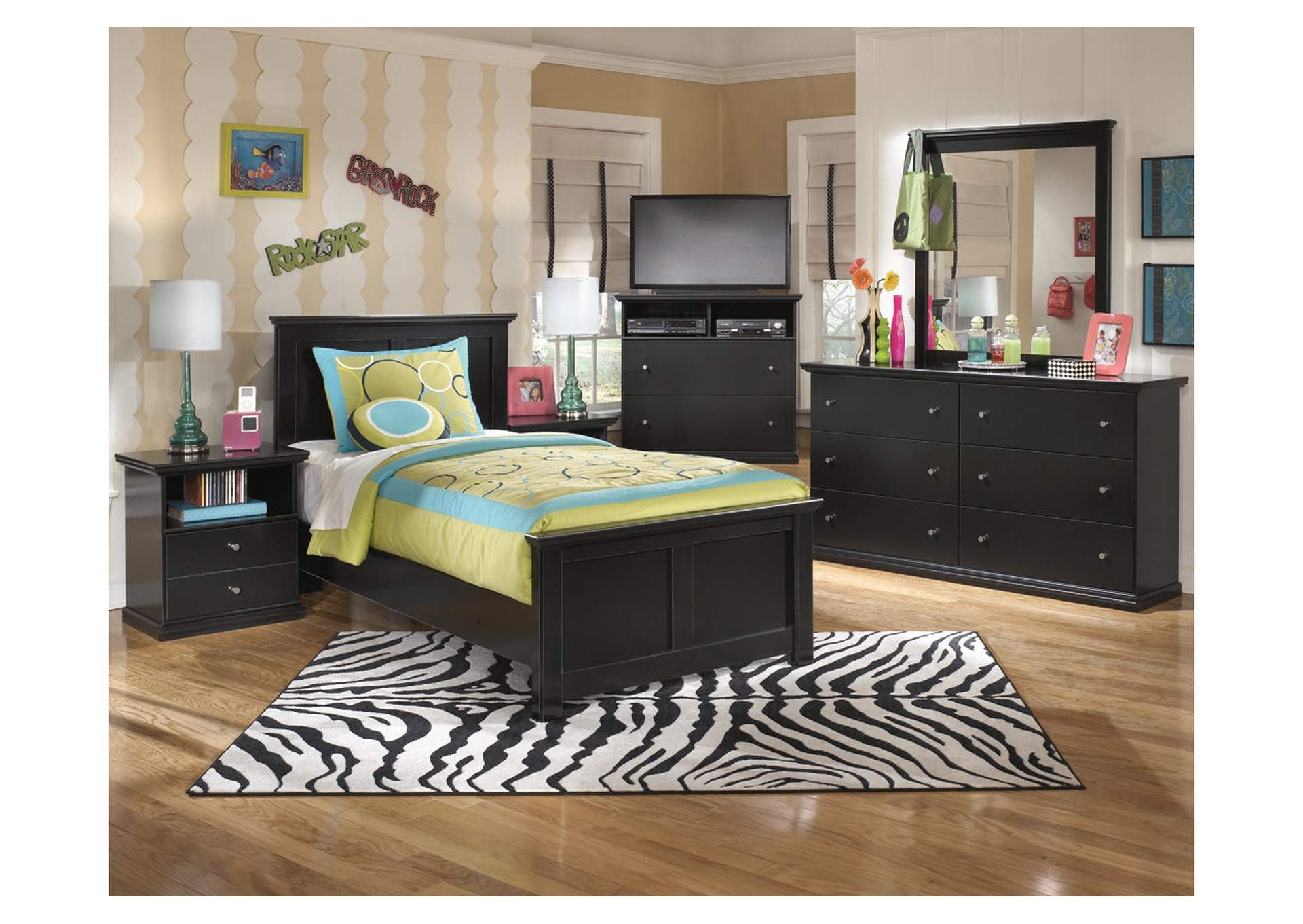 Maribel Twin Panel Bed w/Dresser, Mirror, Drawer Chest & 2 Nightstands,Signature Design By Ashley