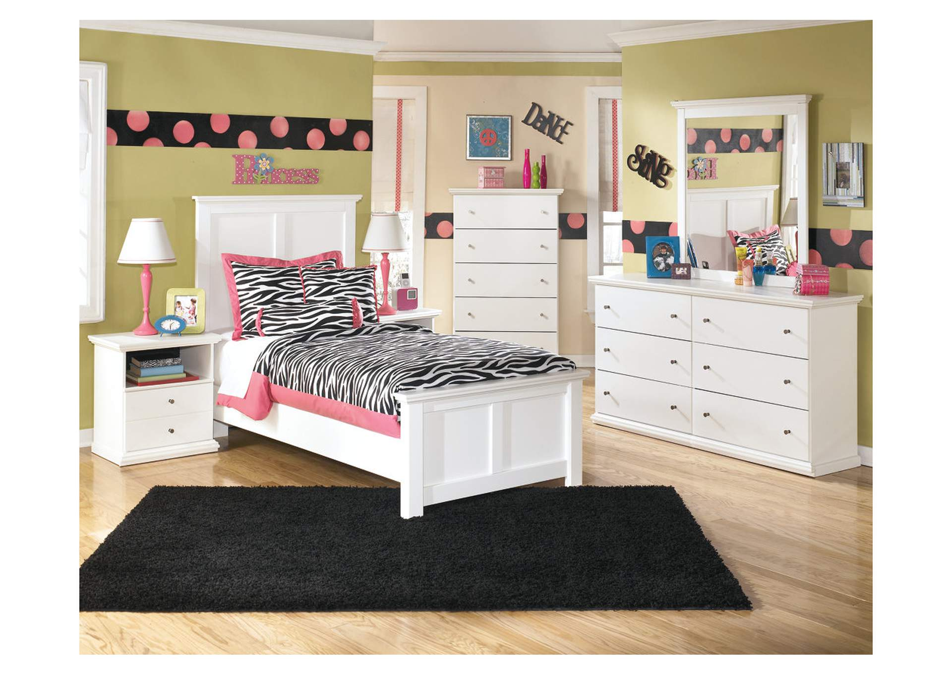 Bostwick Shoals Twin Panel Bed w/Dresser, Mirror & Drawer Chest,Signature Design by Ashley