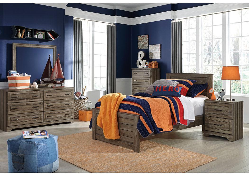 Frugal Furniture   Boston, Mattapan, Jamaica Plain, Dorchester MA Javarin  Grayish Brown Twin Panel Bed W/Dresser, Mirror U0026 Nightstand