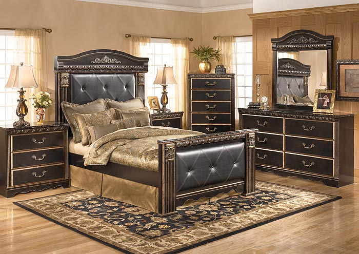 Coal Creek Queen Mansion Bed w/Dresser, Mirror & Drawer Chest,Signature Design By Ashley