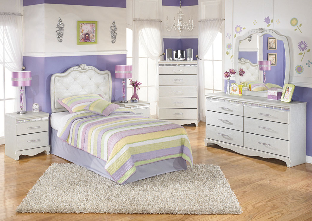 Zarollina Twin Upholstered Headboard w/Dresser, Mirror, Drawer Chest & Nightstand,Signature Design by Ashley