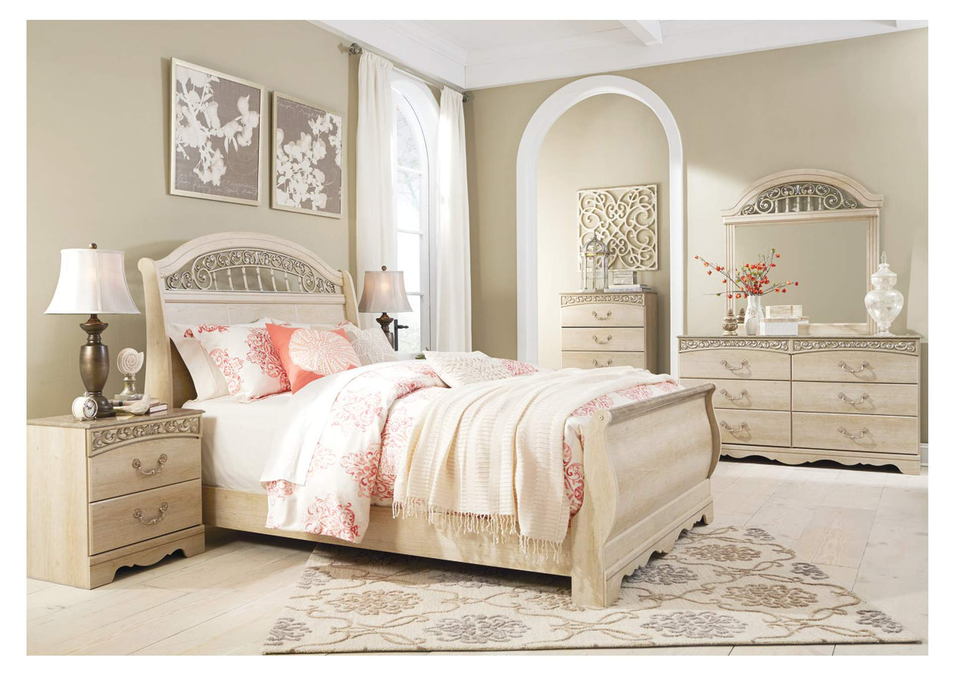 Catalina Antique White Queen Sleigh Bed w/Dresser, Mirror, & Nightstand,Signature Design By Ashley